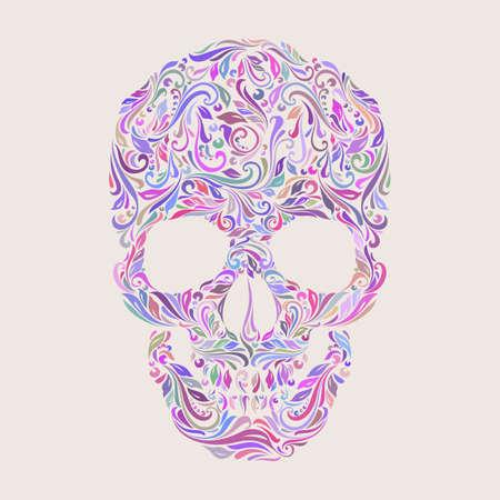 Modelo floral en la forma de un cráneo en un beige