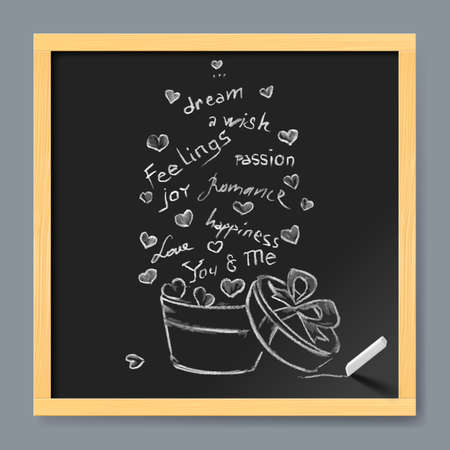 wedding day: Typographic banner with text and gift boxe on chalkboard background