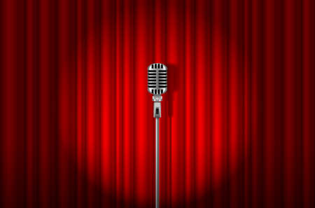 mc: Vintage Microphone against red curtain with spotlight light backdrop