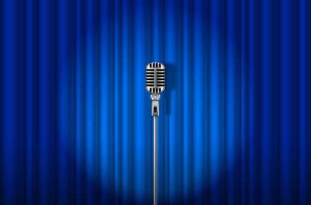 航空ショー: スポット ライト光を背景に青いカーテンに対してビンテージ マイク