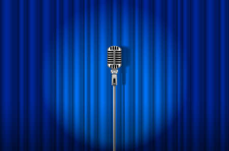 talk show: Vintage Microphone against blue curtain with spotlight light backdrop Illustration