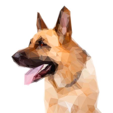 Illustration of Geometric German Shepard Dog Portrait on White