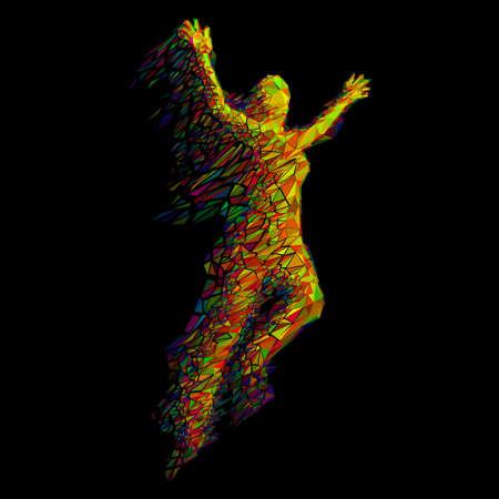 La mujer que salta De color Triángulos en Negro Ilustración de vector