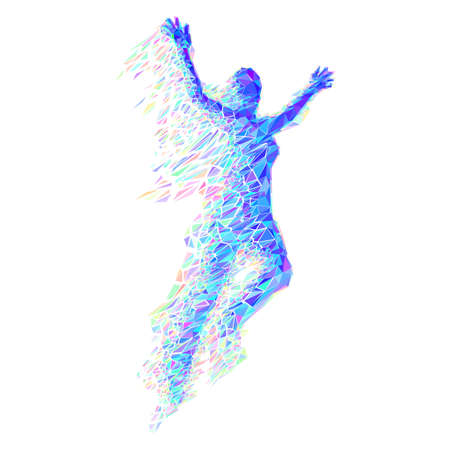 Jumping Woman From Color Triangles on White Illustration