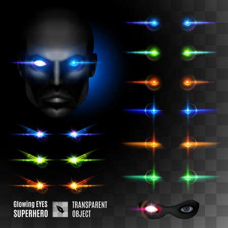 Set of Super Hero Glowing Eyes. Template for Design Illustration