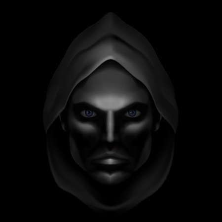 shadowed: Serious Male Face Logo Template. Monk Shadowed Face under the Hood