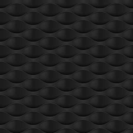 embossed: Embossed Texture Wave. Seamless Pattern in Black Color