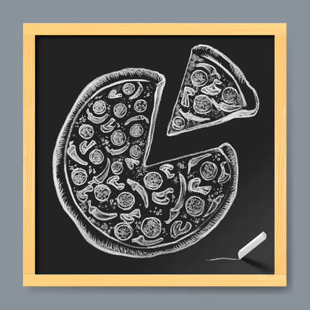 pizza: Hand-Drawn Pizza with Ingredients on Chalkboard Background