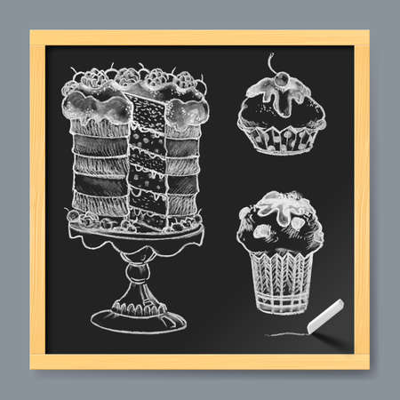 cake background: Hand-Drawn Set of Cake on Chalkboard Background