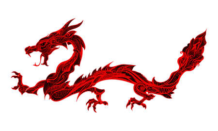 tribal dragon: Doodle Red Dragon Isolated on White Background Illustration