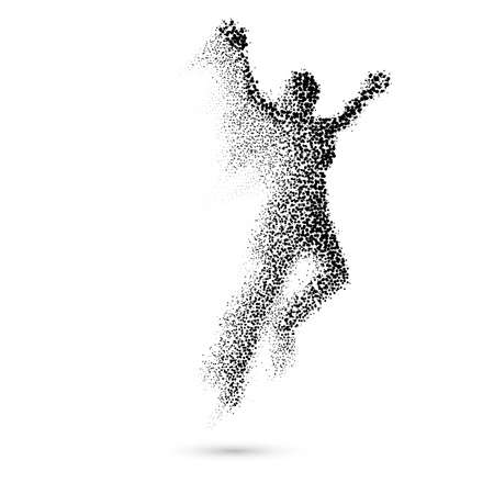 runner up: Jumping Woman From in Black Dots on White
