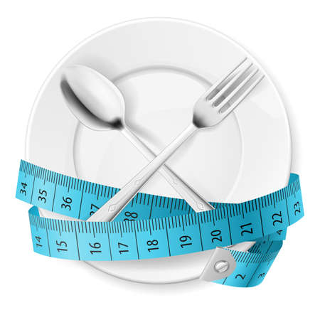 lose weight: Plate with Blue Measuring Tape and Crossed Fok and Spoon