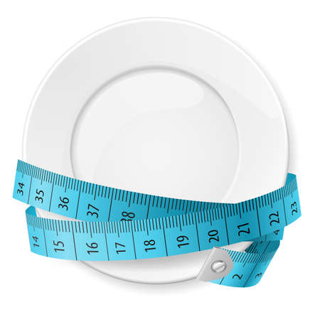 measuring: Clean Plate with Blue Measuring Tape as Diet Concept