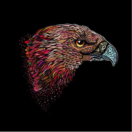 Gestileerde Hoofd van Eagle. Hand Drawn Doodle illustratie in kleur op zwart Stock Illustratie