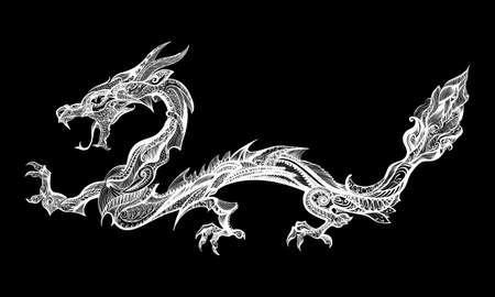 blanco: Doodle blanco del dragón aislado en el fondo Negro