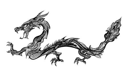 Doodle Black Dragon Isolated on White Background Vettoriali