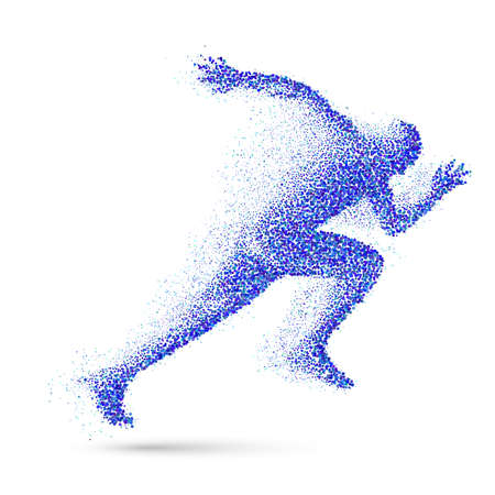 quickness: Running Man in the Form of Blue Particles