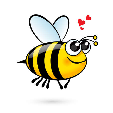 Illustration of a Friendly Cute Bee in Love
