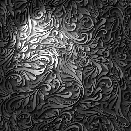 decorative design: Seamless Abstract Black Floral Vine Pattern with Ligh Effect