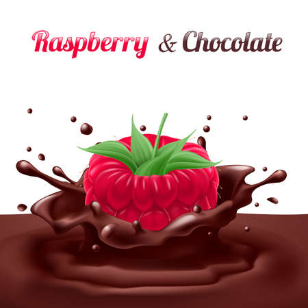 dipped: Raspberry Dipped in Chocolate with Splashes. Drop and Sweet, Food and Fresh and Liquid Illustration