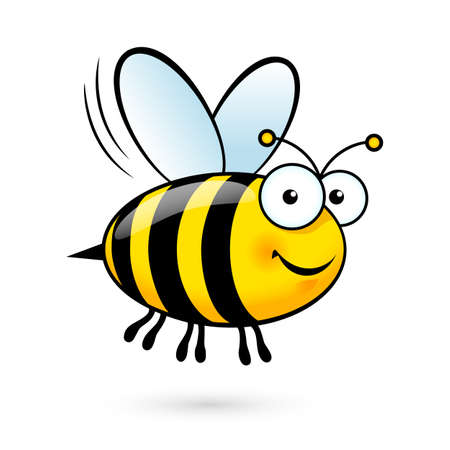 cartoon emotions: Illustration of a Friendly Cute Bee Flying and Smiling
