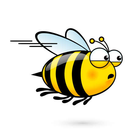 Illustration of a Friendly Cute Bee a Hurry to Visit