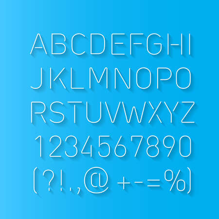Font Thin Lines with Shadow Isolated on Blue Background Illustration
