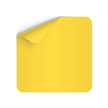 yellow notepad: Illustration of Yellow Paper Notepad with Curling Coner