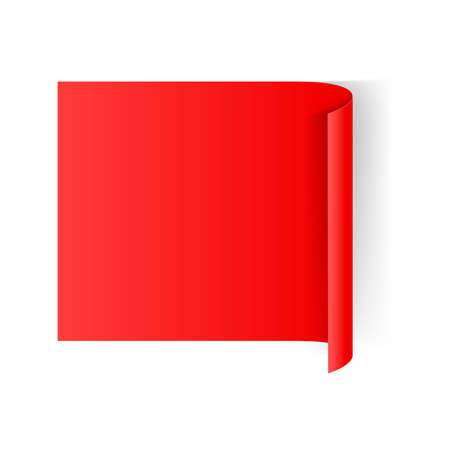 at the edge of: Illustration of Red Paper Notepad with Curling Edge
