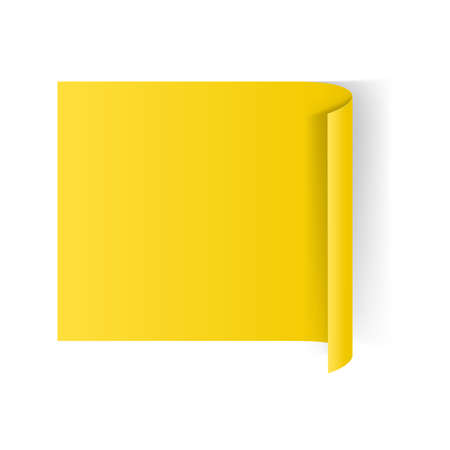 at the edge of: Illustration of Yellow Paper Notepad with Curling Edge