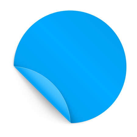 bended: Illustration of Blue Paper Notepad in Circle Form with Bended Coner Illustration