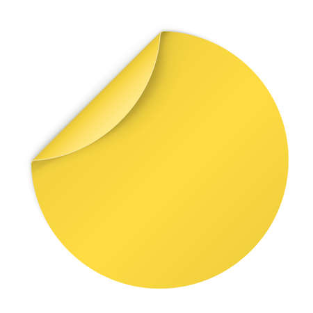 bended: Illustration of Yellow Paper Notepad in Circle Form with Bended Coner