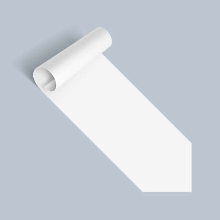bended: Illustration of White Paper Notepad with Bended Coner on Blue