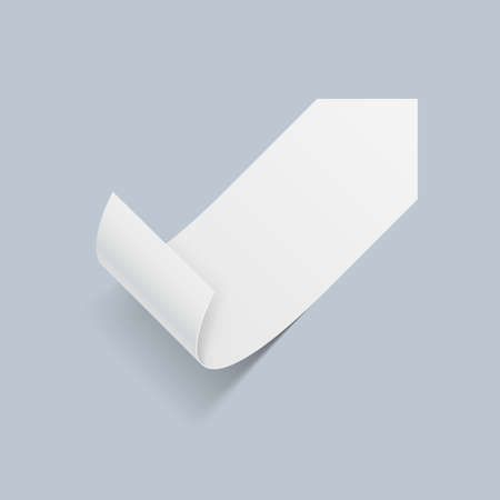 bended: Illustration of White Paper Sticker with Bended Coner on Blue