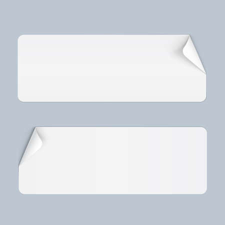bended: Illustration of Two Stickers with Bended Coner on Blue