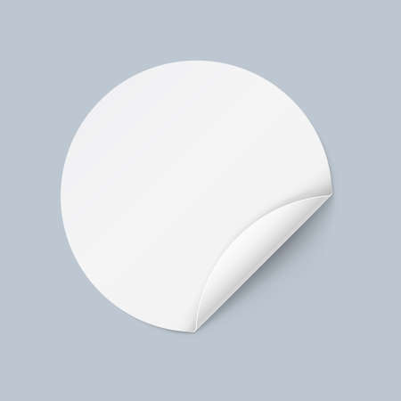 bended: Illustration of White Sticker in Circle Form with Bended Coner