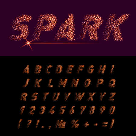 spark: Spark Alphabet and Numbers on Black Background