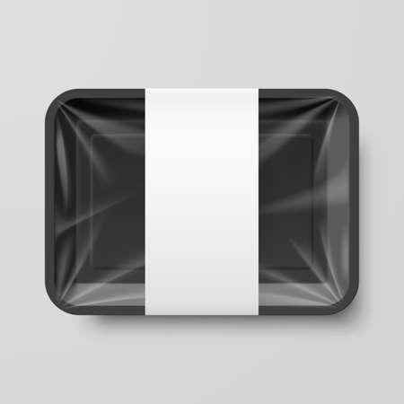 lunch box: Empty Black Plastic Food Container with Label on Gray Background Illustration