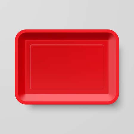 Leere roten Plastiknahrungsmittelbehälter auf grauem Hintergrund