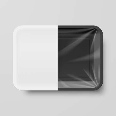 kunststoff: Leeren schwarzen Kunststoff-Lebensmittel-Container mit wei�em Etikett auf grauem Hintergrund Illustration