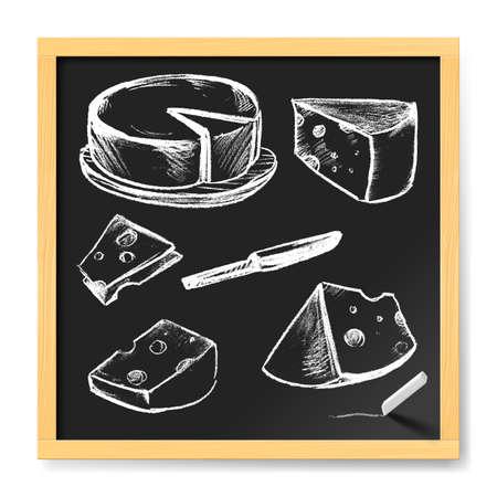 手には、チーズが描かれました。カフェ黒板のメニュー