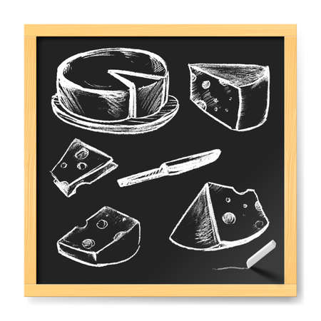 Hand Drawn Cheese. Menu for Cafe on Chalkboard Ilustração