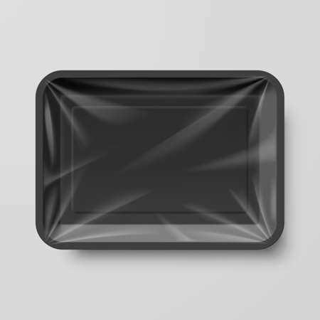 plastic box: Empty Black Plastic Food Container on Gray