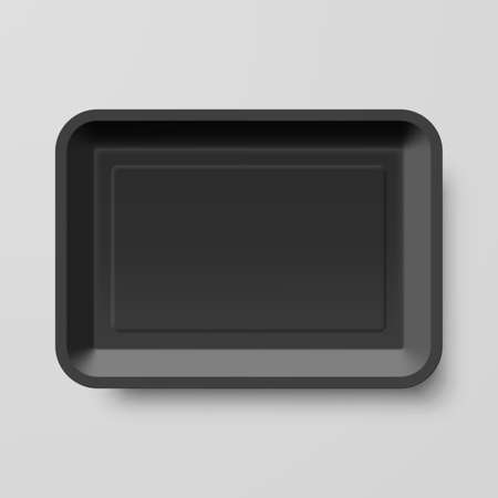 Empty Black Plastic Food Container on Gray Background