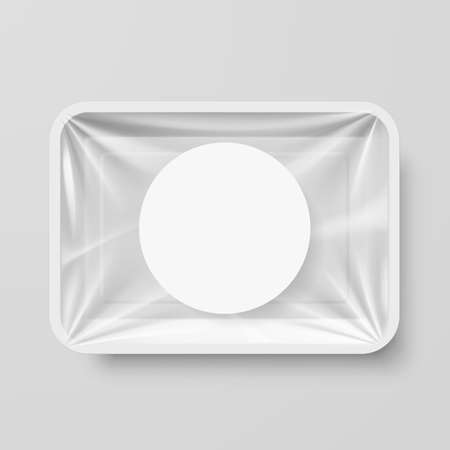 isolated objects: Empty White Plastic Food Container with Round Label Illustration