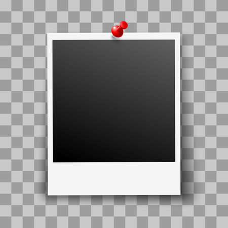 Retro Photo Frame on Transparent Background with Red Pin