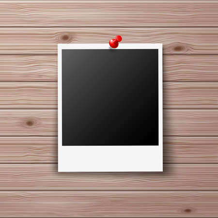 red pin: Retro Photo Frame Pinned with Red Pin on Wooden Wall