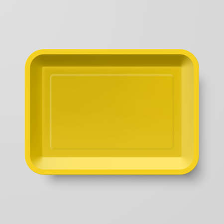 empty box: Empty Yellow Plastic Food Container on Gray Background Illustration
