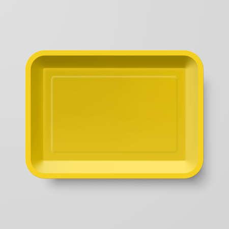 botanas: Vacía de plástico amarillo envase de alimento en el fondo gris Vectores