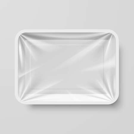 Empty White Plastic Food Container on Gray Imagens - 53507398